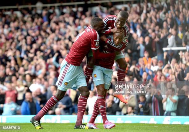 West Ham United's Diafra Sakho celebrates scoring his side's second goal of the game with teammate Cheikhou Kouyate and Enner Valencia