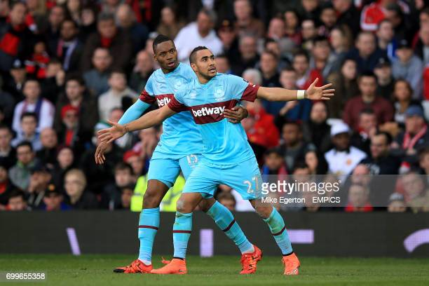 West Ham United's Dimitri Payet celebrates scoring their first goal of the game with teammate Pedro Mba Obiang