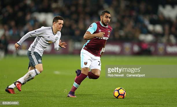 West Ham United's Dimitri Payet during the Premier League match between West Ham United and Manchester United at London Stadium on January 2 2017 in...