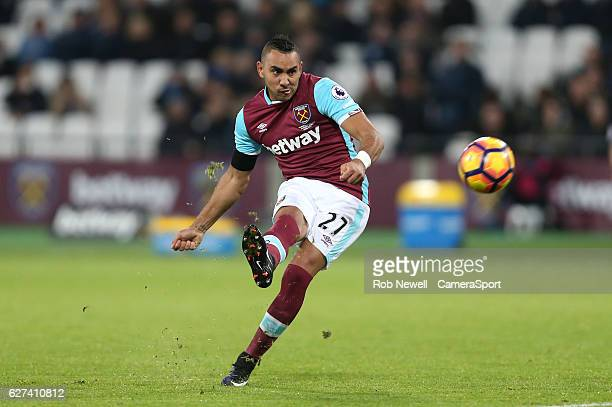 West Ham United's Dimitri Payet hits the bar with a freekick during the Premier League match between West Ham United and Arsenal at London Stadium on...