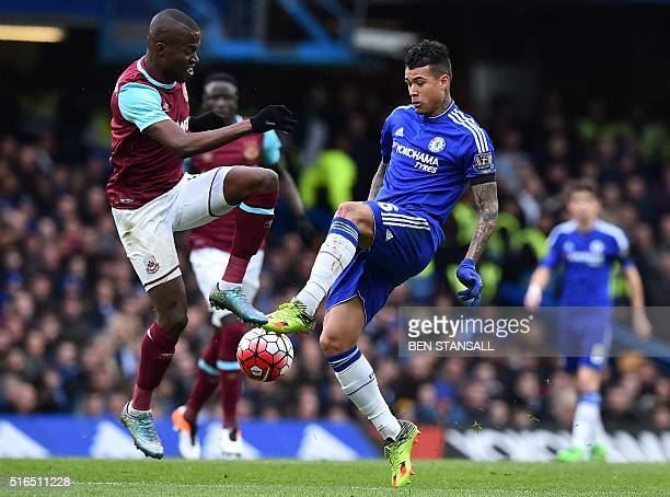 West Ham United's Ecuadorian striker Enner Valencia vies with Chelsea's Brazilian striker Kenedy during the English Premier League football match...