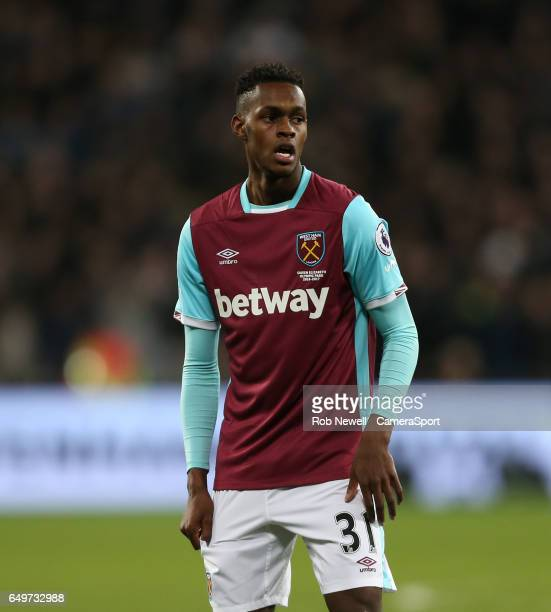 West Ham United's Edimilson Fernandes during the Premier League match between West Ham United and Chelsea at London Stadium on March 6 2017 in...