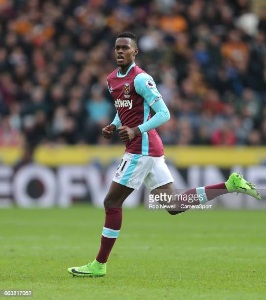 West Ham United's Edimilson Fernandes during the Premier League match between Hull City and West Ham United at KCOM Stadium on April 1 2017 in Hull...