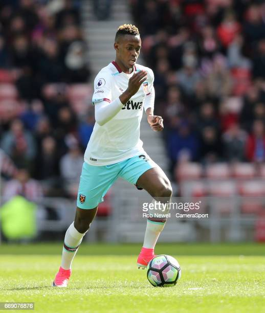 West Ham United's Edimilson Fernandes during the Premier League match between Sunderland and West Ham United at Stadium of Light on April 15 2017 in...