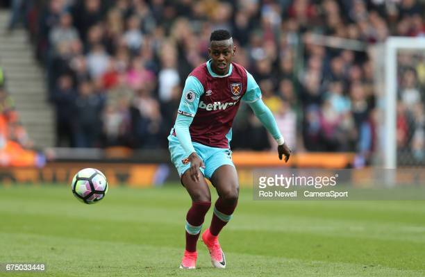 West Ham United's Edimilson Fernandes during the Premier League match between Stoke City and West Ham United at Bet365 Stadium on April 29 2017 in...
