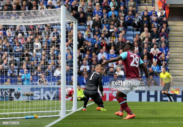 West Ham United's Emmanuel Emenike sees his shot bounce off the post and almost cross the goal line