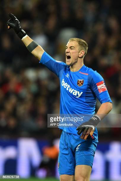 West Ham United's English goalkeeper Joe Hart gestures to his defence during the English Premier League football match between West Ham United and...