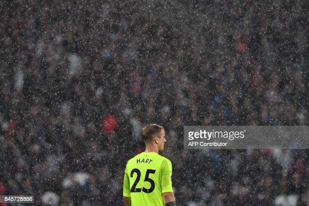 West Ham United's English goalkeeper Joe Hart looks on during the English Premier League football match between West Ham United and Huddersfield Town...