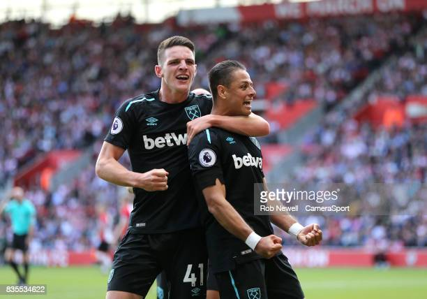 West Ham United's Javier Hernandez celebrates scoring his sides second goal with Declan Rice during the Premier League match between Southampton and...
