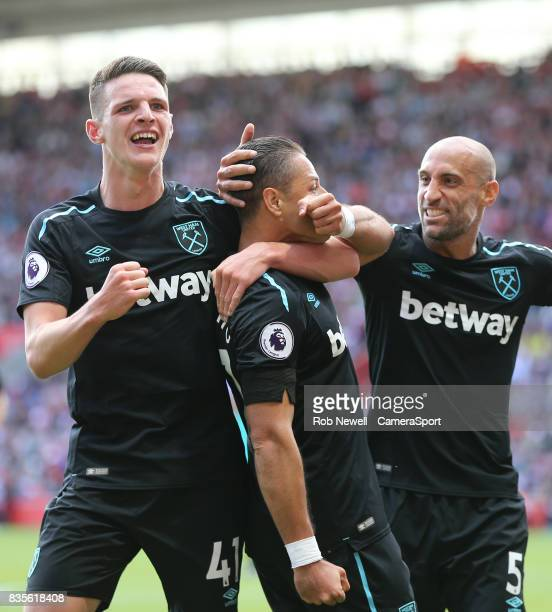 West Ham United's Javier Hernandez celebrates scoring his sides second goal with Declan Rice and Pablo Zabaleta during the Premier League match...