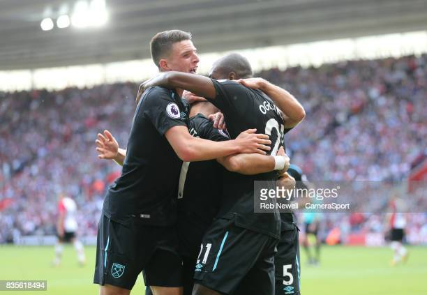 West Ham United's Javier Hernandez celebrates scoring his sides second goal with Declan Rice Angelo Ogbonna and Pablo Zabaleta during the Premier...