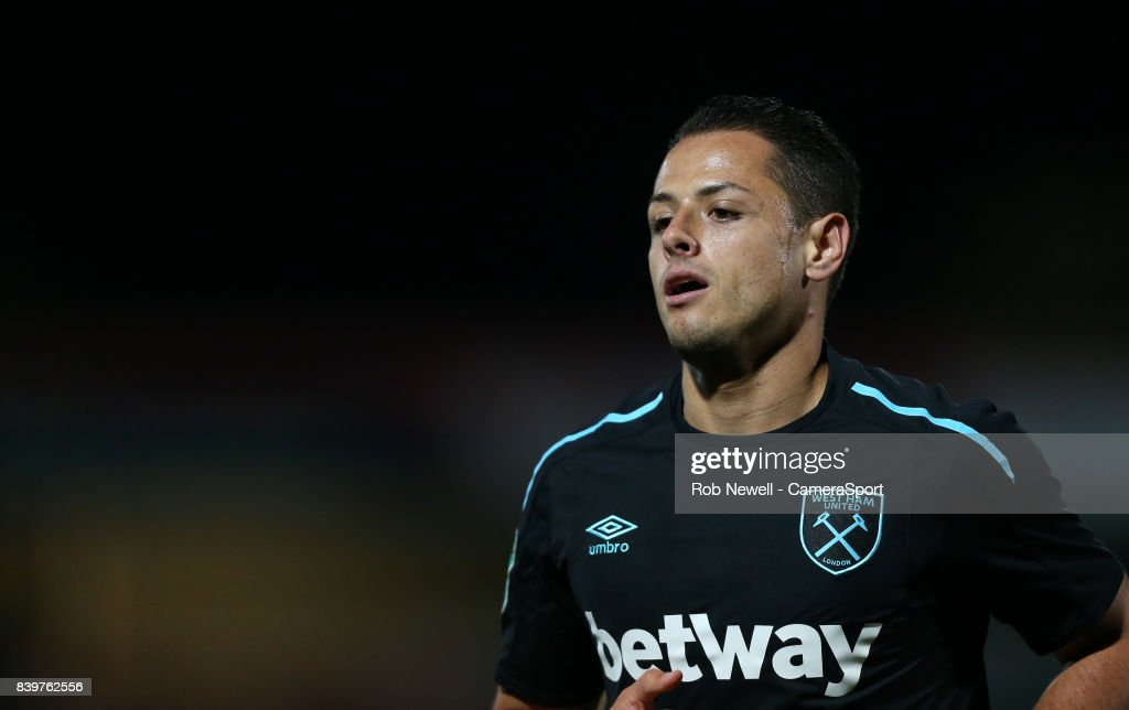 West Ham United's Javier Hernandez during the Carabao Cup Second Round match between Cheltenham Town and West Ham United at Whaddon Road on August 23, 2017 in Cheltenham, England.