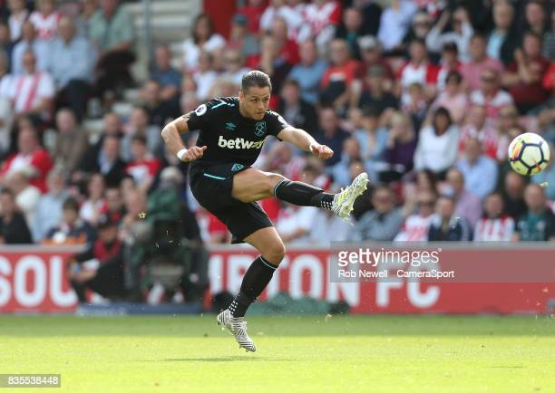 West Ham United's Javier Hernandez during the Premier League match between Southampton and West Ham United at St Mary's Stadium on August 19 2017 in...