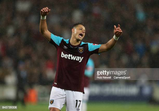 West Ham United's Javier Hernandez during the Premier League match between West Ham United and Huddersfield Town at London Stadium on September 11...