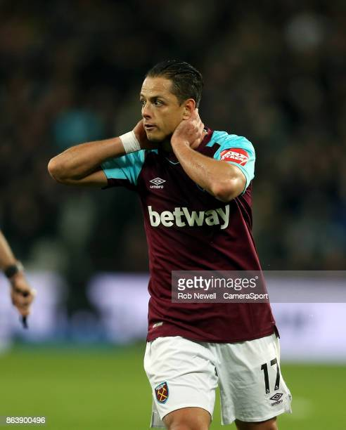 West Ham United's Javier Hernandez during the Premier League match between West Ham United and Brighton and Hove Albion at London Stadium on October...
