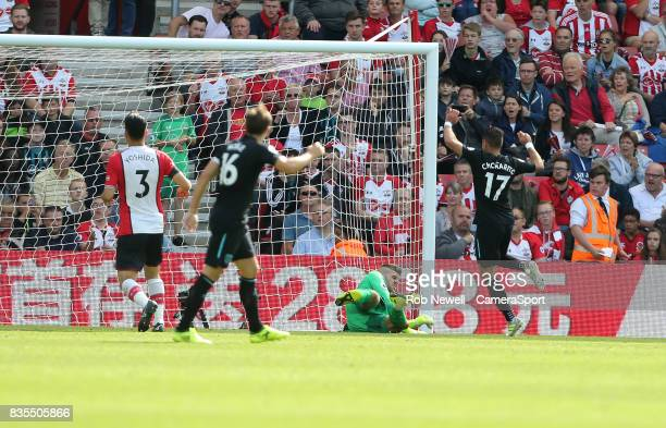 West Ham United's Javier Hernandez scores his sides first goal during the Premier League match between Southampton and West Ham United at St Mary's...