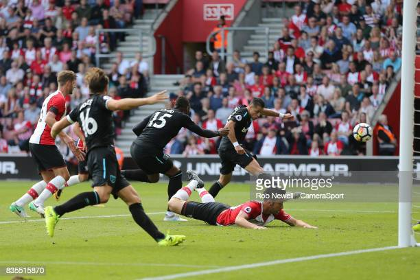 West Ham United's Javier Hernandez scores his sides second goal during the Premier League match between Southampton and West Ham United at St Mary's...