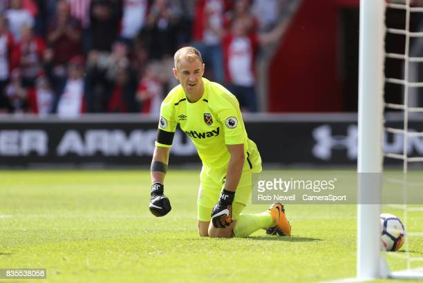 West Ham United's Joe Hart after conceding Southampton's first goal during the Premier League match between Southampton and West Ham United at St...