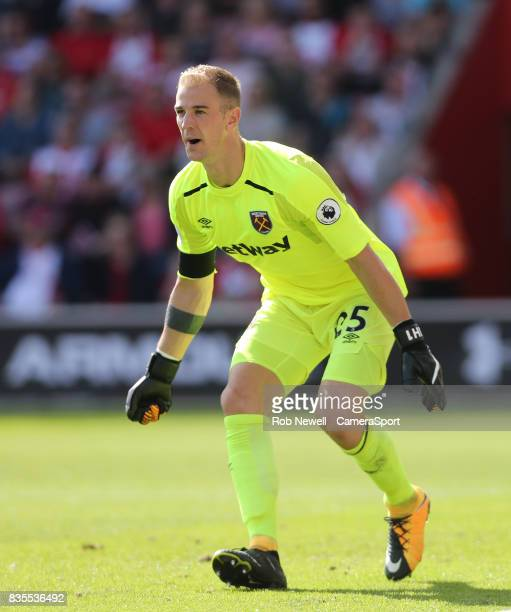 West Ham United's Joe Hart during the Premier League match between Southampton and West Ham United at St Mary's Stadium on August 19 2017 in...
