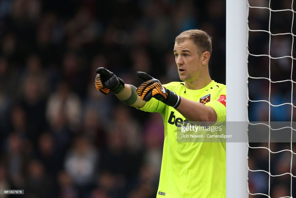 West Ham United's Joe Hart during the Premier League match between Burnley and West Ham United at Turf Moor on October 14, 2017 in Burnley, England.