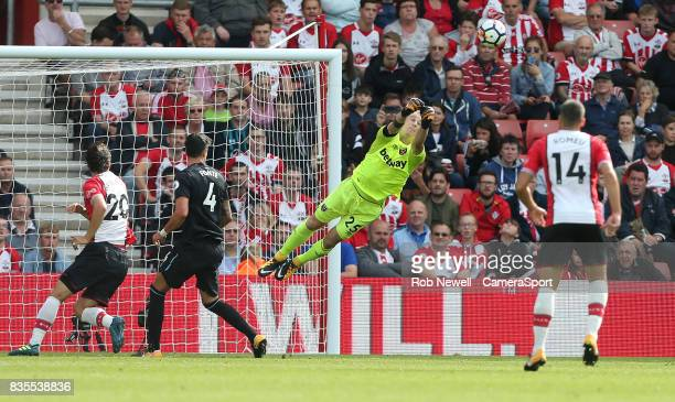 West Ham United's Joe Hart punches clear during the Premier League match between Southampton and West Ham United at St Mary's Stadium on August 19...