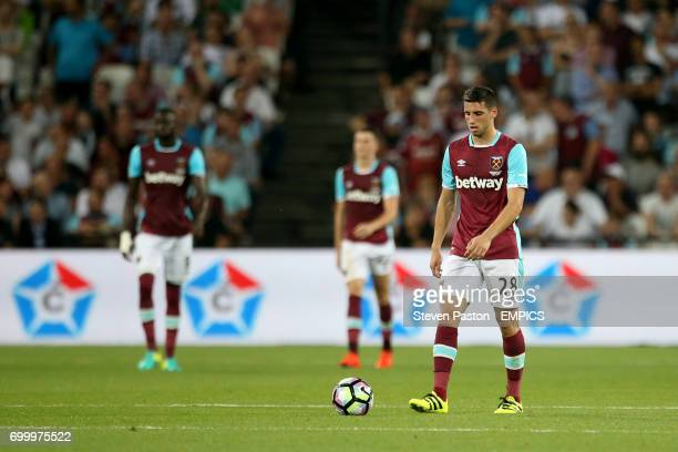West Ham United's Jonathan Calleri appears dejected after Filipe Teixeira's first goal
