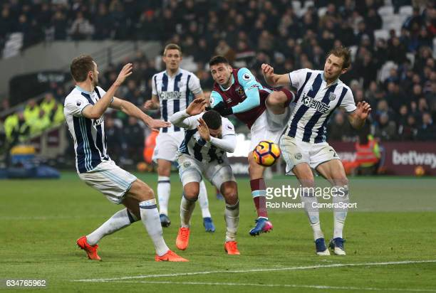West Ham United's Jonathan Calleri attempts to get a header on goal during the Premier League match between West Ham United and West Bromwich Albion...