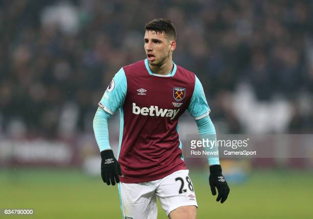 West Ham United's Jonathan Calleri during the Premier League match between West Ham United and West Bromwich Albion at London Stadium on February 11...