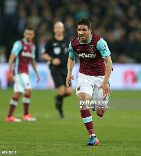 West Ham United's Jonathan Calleri during the Premier League match between West Ham United and Tottenham Hotspur at London Stadium on May 5 2017 in...