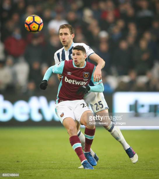 West Ham United's Jonathan Calleri in action with West Bromwich Albion's Craig Dawson