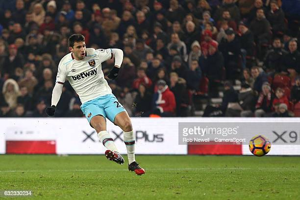 West Ham United's Jonathan Calleri with a second half strike during the Premier League match between Middlesbrough and West Ham United at Riverside...