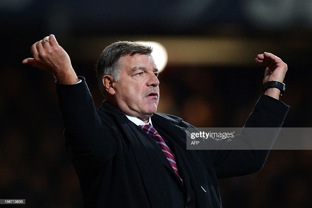 "West Ham United's manager Sam Allardyce gestures during the English Premier League football match between West Ham and Stoke City at the Boleyn Ground, Upton Park, in East London, England, on November 19, 2012. The match ended in a 1-1 draw. AFP PHOTO/BEN STANSALL USE. No use with unauthorized audio, video, data, fixture lists, club/league logos or ""live"" services. Online in-match use limited to 45 images, no video emulation. No use in betting, games or single club/league/player publications."