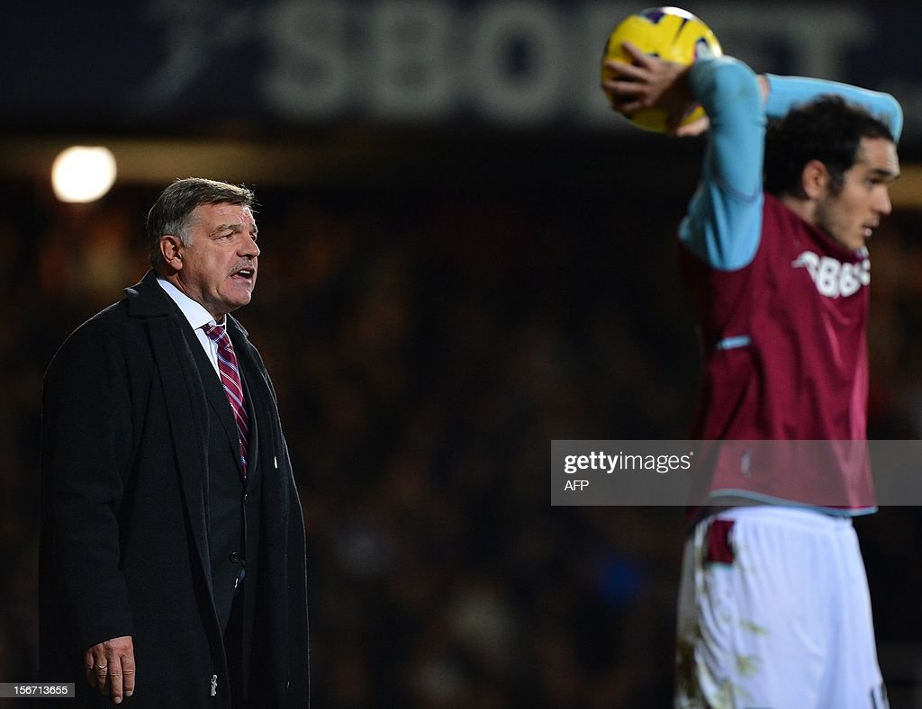"West Ham United's manager Sam Allardyce (L) shouts to his players during the English Premier League football match between West Ham and Stoke City at the Boleyn Ground, Upton Park, in East London, England, on November 19, 2012. The match ended in a 1-1 draw. USE. No use with unauthorized audio, video, data, fixture lists, club/league logos or ""live"" services. Online in-match use limited to 45 images, no video emulation. No use in betting, games or single club/league/player publications."