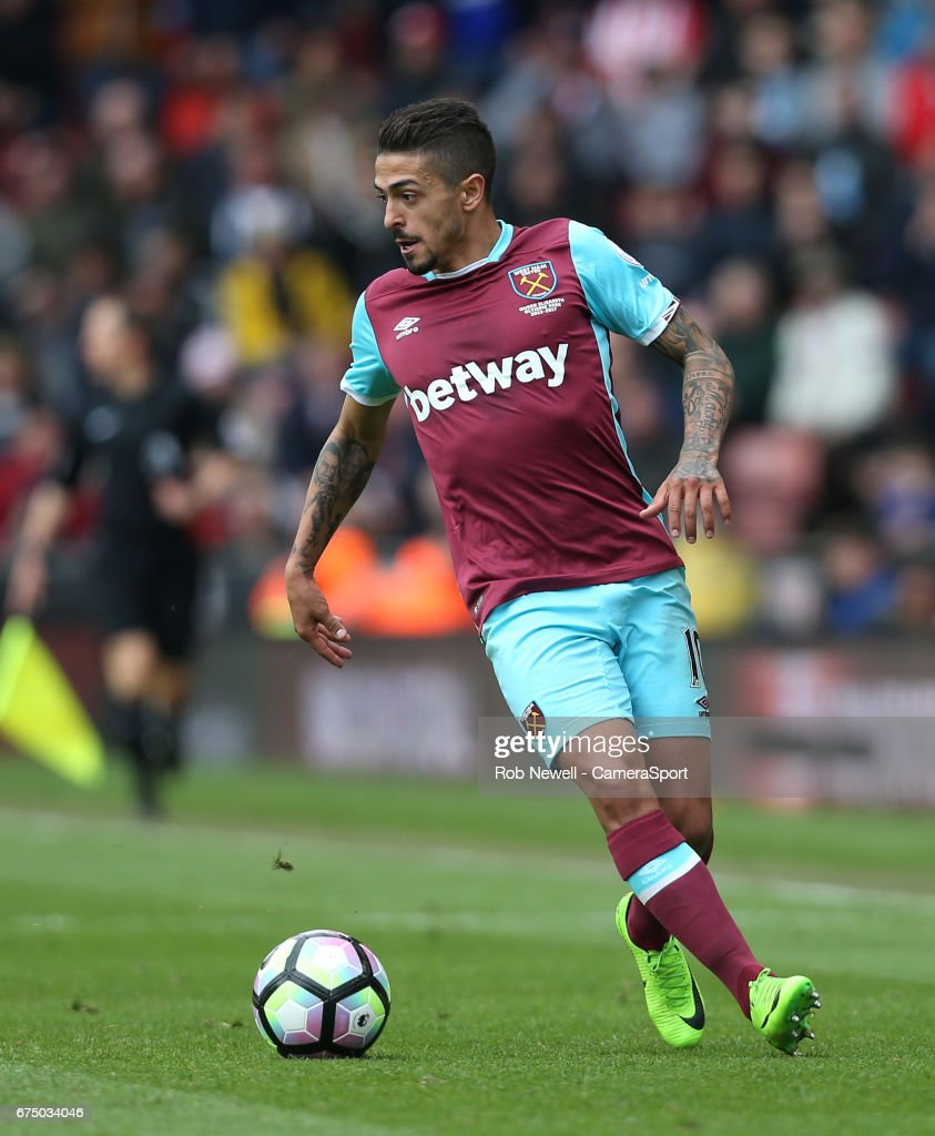 West Ham United's Manuel Lanzini during the Premier League match between Stoke City and West Ham United at Bet365 Stadium on April 29, 2017 in Stoke on Trent, England.