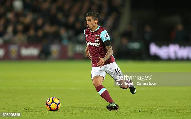 West Ham United's Manuel Lanzini during the Premier League match between West Ham United and Arsenal at London Stadium on December 3 2016 in...