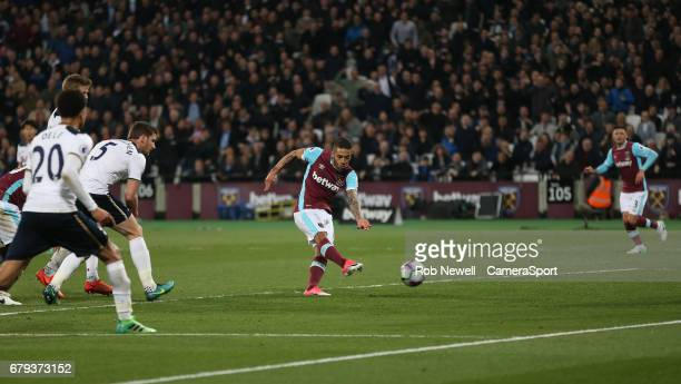West Ham United's Manuel Lanzini scores his sides first goal during the Premier League match between West Ham United and Tottenham Hotspur at London...