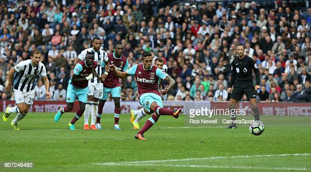 West Ham United's Manuel Lanzini scores his sides second goal from the penalty spot during the Premier League match between West Bromwich Albion and...