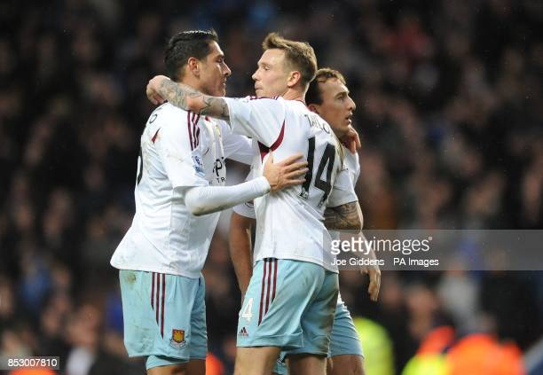 West Ham United's Marco Borriello Matthew Taylor and Mark Noble celebrate at the end of the Barclays Premier League match at Villa Park Birmingham