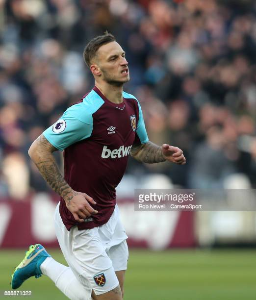 West Ham United's Marko Arnautovic celebrates scoring his side's first goal during the Premier League match between West Ham United and Chelsea at...