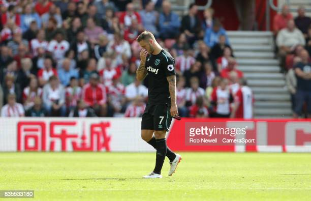 West Ham United's Marko Arnautovic walks off after receiving a red card during the Premier League match between Southampton and West Ham United at St...