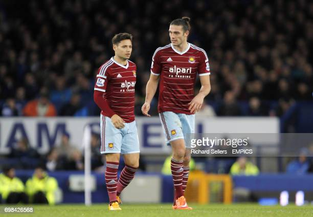 West Ham United's Mauro Zarate and Andy Carroll