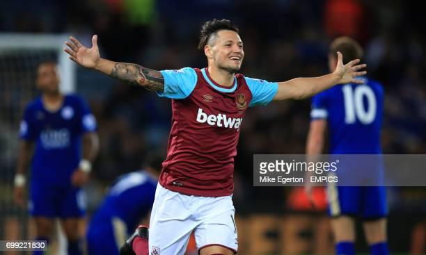 West Ham United's Mauro Zarate celebrates scoring their first goal