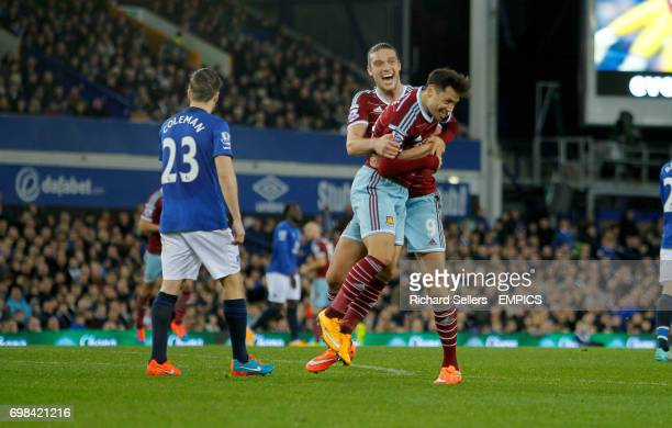 West Ham United's Mauro Zarate celebrtaes his equaliser with West Ham United's Andy Carroll