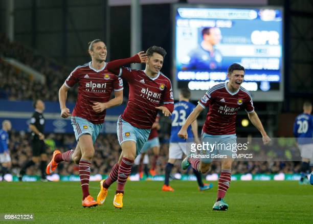 West Ham United's Mauro Zarate centre celebrtaes his equaliser
