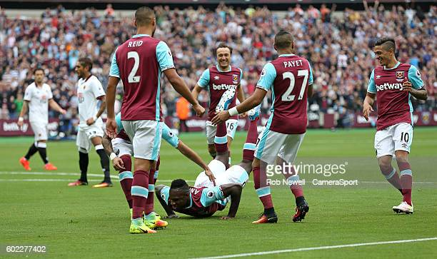 West Ham United's Michail Antonio celebrates scoring his sides first goal during the Premier League match between West Ham United and Watford at...