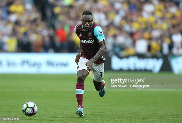 West Ham United's Michail Antonio during the Premier League match between West Ham United and Watford at Olympic Stadium on September 10 2016 in...