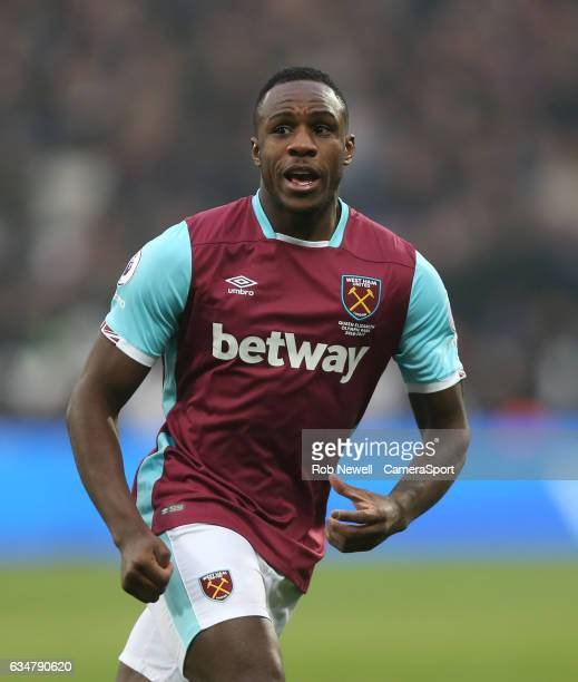 West Ham United's Michail Antonio during the Premier League match between West Ham United and West Bromwich Albion at London Stadium on February 11...