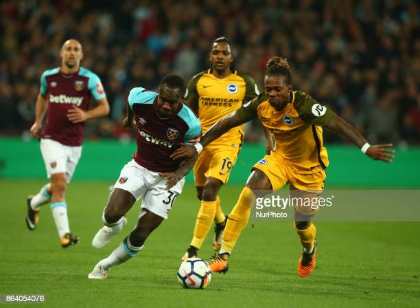 West Ham United's Michail Antonio takes on Brighton amp Hove Albion's Gaetan Bong during Premier League match between West Ham United against...