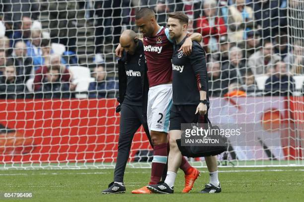 West Ham United's New Zealand defender Winston Reid leaves the pitch during the English Premier League football match between West Ham United and...