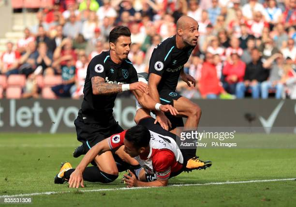 West Ham United's Pablo Zabaleta concedes a penalty for bringing down Southampton's Maya Yoshida during the Premier League match at St Mary's...